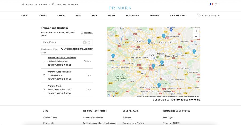 Où se trouve Primark à Paris?